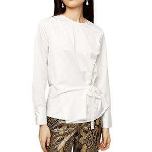 TopShop Side Tie white long sleeve blouse
